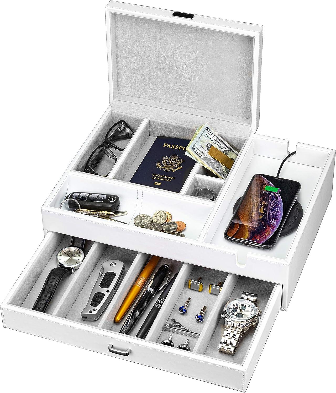 HOUNDSBAY Admiral Big Dresser Valet Box & Mens Jewelry Box Organizer with Large Smartphone Charging Station (White)