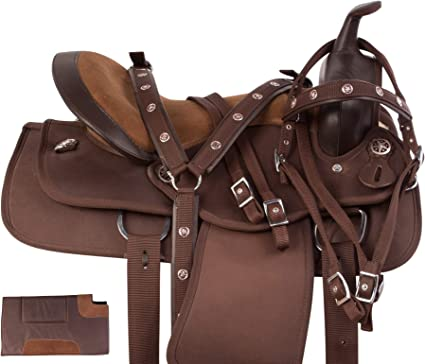 COMFY BLACK WESTERN PLEASURE CORDURA HORSE SADDLE TACK SET 14 15 16 17 18