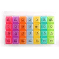 PuTwo Pill Box Color Coded Pill Organiser for 7 Days with 4 Compartments