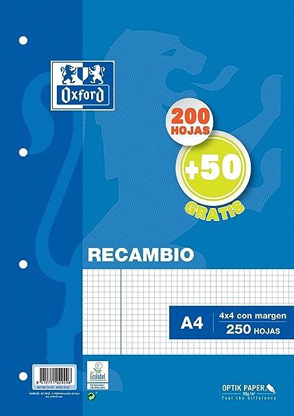 RECAMBIO TAPA BLANDA A4 200H+50H 4X4 con margen AZUL