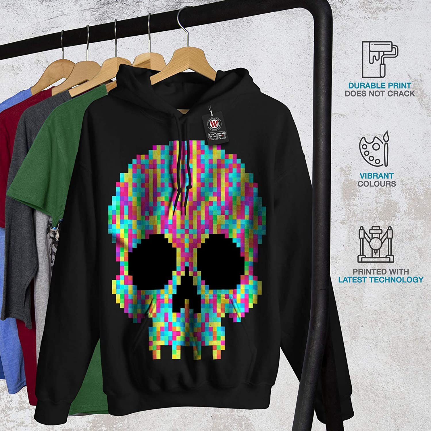 Hooded Sweatshirt wellcoda Pixel Skeleton Rock Skull Mens Hoodie