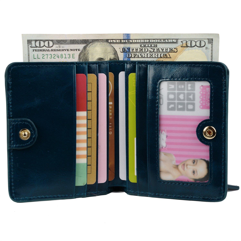 YALUXE Women's Mini Small Leather Pocket Wallet with ID Window Blue by YALUXE (Image #3)
