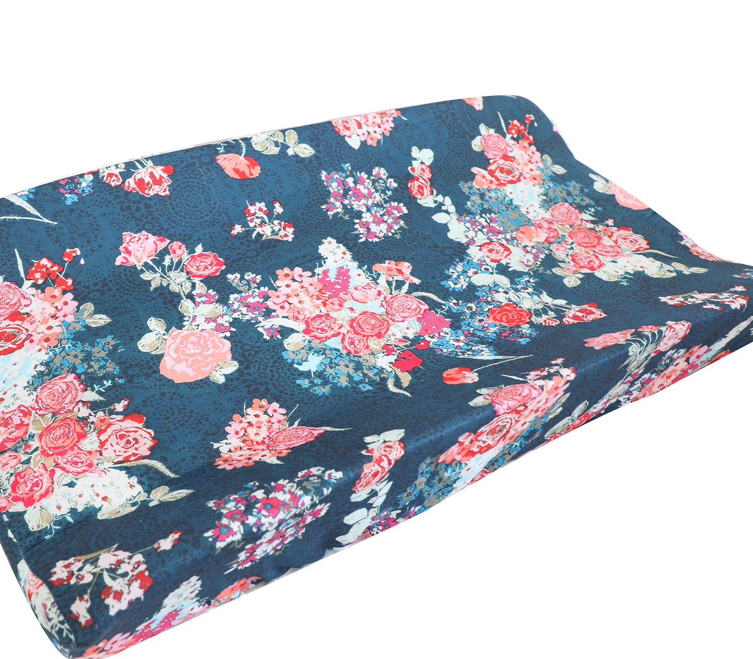 Sahaler Baby Boy Crib Bedding Aztec Changing Pad Cover (Coral Navy Flora)