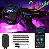 MINGER Unifilar Car LED Strip Light, 4pcs 48 LED APP Controller Car Interior Lights, Waterproof Multicolor Music Under Dash L