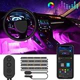 MINGER Unifilar Car LED Strip Light, 4pcs 48 LED APP Controller Car Interior Lights, Waterproof Multicolor Music Under…