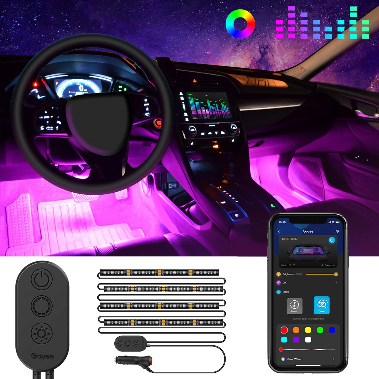 MINGER Unifilar Car LED Strip Light, 4pcs 48 LED APP Controller Car Interior Lights, Waterproof Multicolor Music Under Dash Lighting Kits for iPhone Android Smart Phone, Car Charger Included, DC 12V