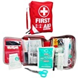 First Aid Kit - Small Compact First Aid Kit Bag(175 Piece) - Reflective Bag Design- Includes 2 x Eyewash,Instant Cold Pack,Emergency Blanket, CPR Face Mask for Travel, Home, Office, Vehicle,Camping