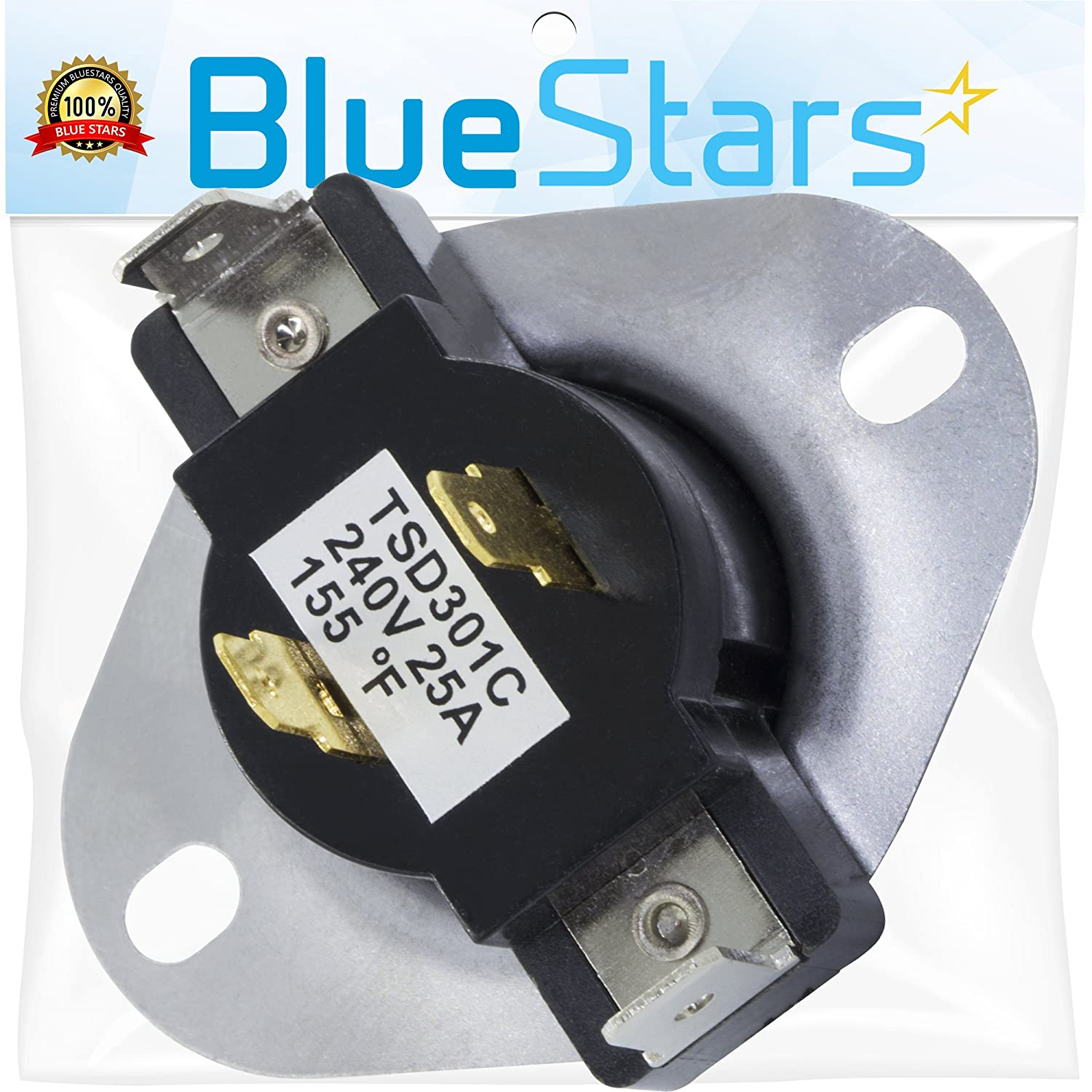 3387134 Cycling Thermostat Replacement Part by Blue Stars - Exact fit for Whirlpool Kenmore Maytag dryers - Replaces 3387135 3387139 WP3387134VP