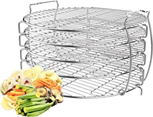 Dehydrator Rack Stand for Ninja Foodi Accessories, Zalava Food Grade 304 Stainless Dehydrator Rack with Five Stackable Layers Compatible with Ninja Foodi Pressure Cooker and Air Fryer 6.5qt and 8 qt