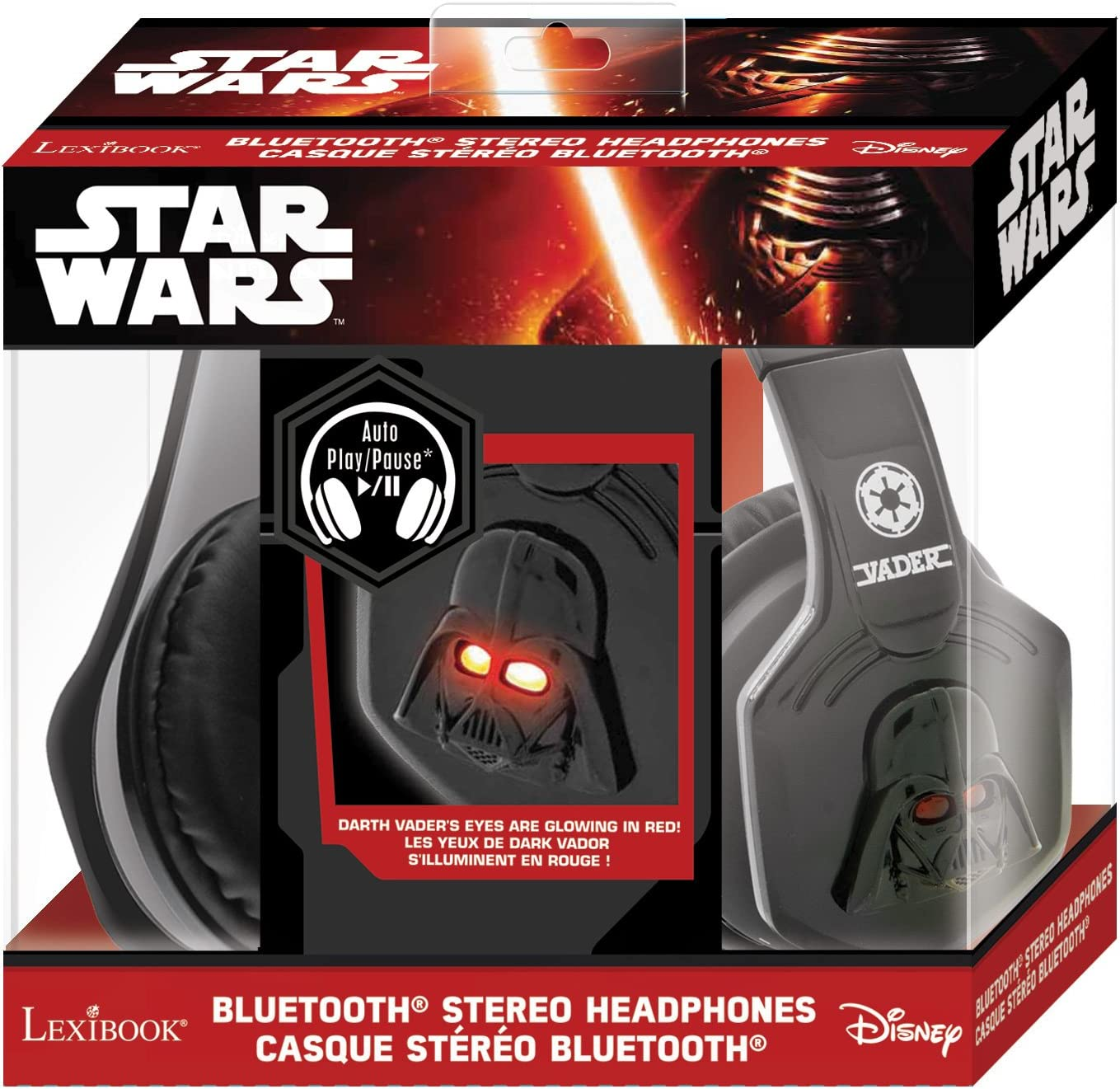 Lexibook BTHP500SW Star Wars Dark Vador Casque Bluetooth Stéréo avec Effets Lumineux