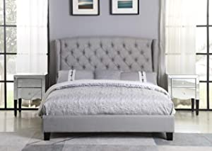 Best Master Furniture Yvette Upholstered Tufted with Wingback Platform Bed King, Grey
