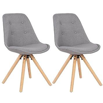 Beau WOLTU® BH54gr 2 Chaise Salle à Manger Design Siège En Lin Mélangé,chaise