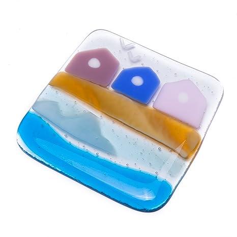 Diseño de casetas de playa fused posavasos de cristal art - Hand-fabricado en East
