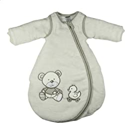 Jacky Baby Unisex Winter-Schlafsack mit abnehmbaren Ärmeln, wattiert, Bear, Alter 2-6 Monate, Größe: 62/68, Farbe: Off White, 327106-99