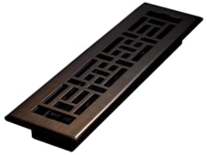 Decor Grates AJH212-RB Oriental Floor Register, Rubbed Bronze, 2-Inch by 12-Inch