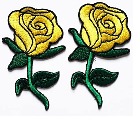 Amazon pack of 2 yellow rose flowers cartoon movie patch kid pack of 2 yellow rose flowers cartoon movie patch kid baby boy jacket t shirt patch mightylinksfo