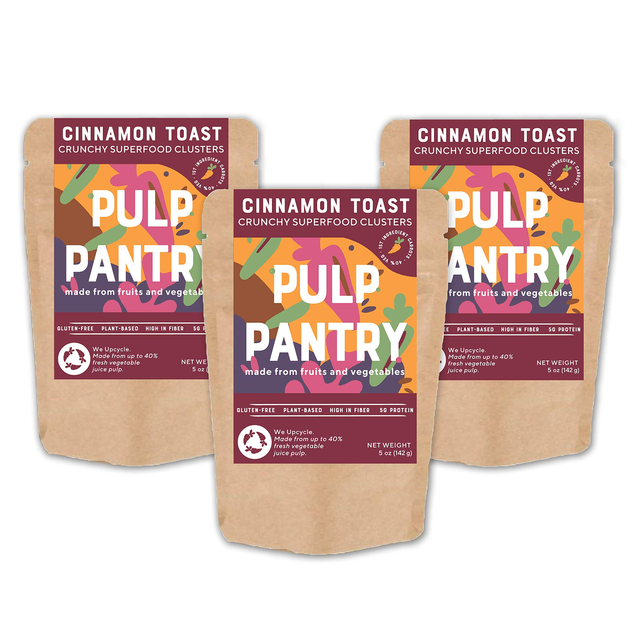 Cinnamon Toast Plant-Based Granola Bites by Pulp Pantry | Grain-Free | Gluten-Free | Nut-Free | Paleo | Prebiotic | High Fiber | Made With Fruits & Veggies | 5 oz, 3-Pack