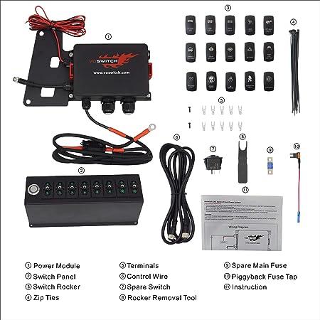 For 2009-2016 Jeep JK /& JKU Digital Voltmeter Overhead 6-Rocker Switch Panel Pod