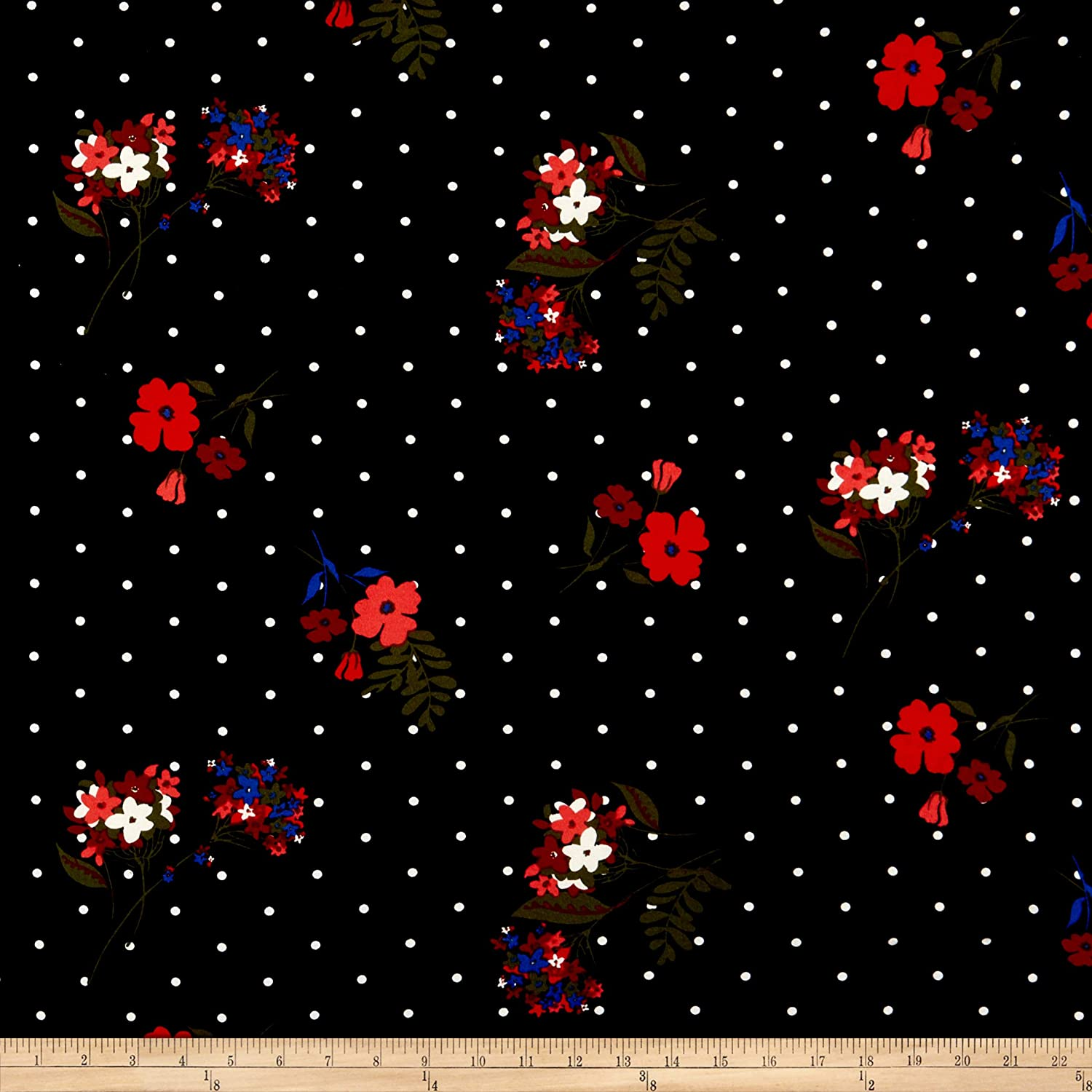 79c3bba6295 Amazon.com: Fabric Merchants Double Brushed Poly Jersey Knit Dots and  Floral Fabric, Black/Red, Fabric By The Yard