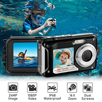 Amazon.com: Cámara digital impermeable Full HD 1080P cámara ...