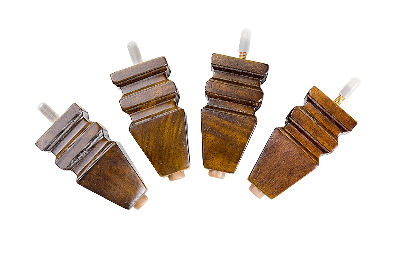 MJL Furniture Designs Small Carved Block Wooden Replacement Sofa/Ottoman Furniture Square Threaded Leg (Set of 4), Walnut, 4 x 2 x 1 4 x 2 x 1 SmallCarvedBlock-Walnut