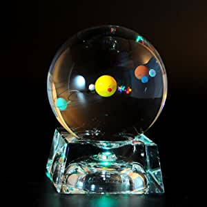 Solar System 3D Crystal Ball with LED lamp Base Clear 80mm (3.15 inch) Glass Sphere Best Birthday  Kids, Teacher of Physics, Astronomer, Lover of The Universe, Boyfriend, Girlfriend, Classma