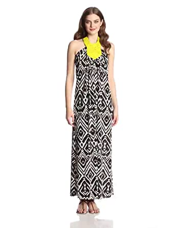 Tbags Los Angeles Women's Macrame Halter Maxi Dress, Black/White/Citron Beads, X-Small
