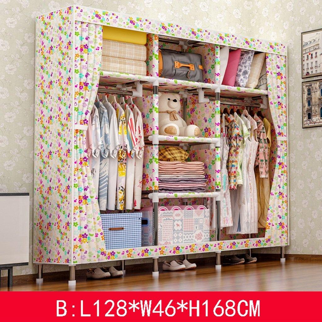 KKCD - ースには収納ケー ワードローブの携帯用衣服のクローゼットの食器棚の寝室の家具の貯蔵128 * 46 * 168 CM クローゼッ (Color : B) B07SWJJFX9 B
