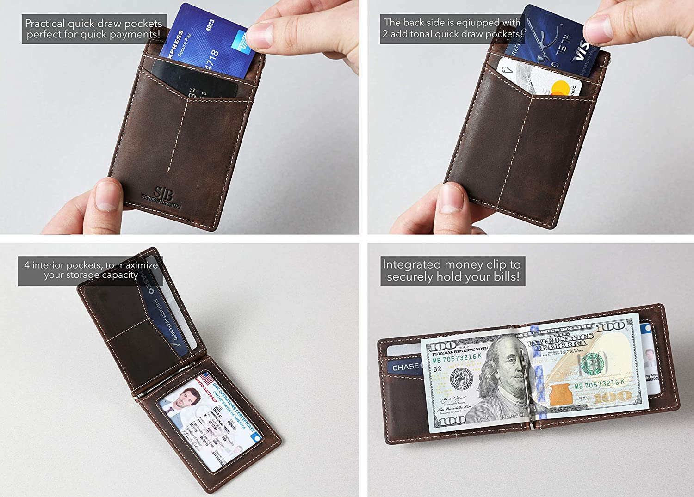 8527 Prime Hide Hunter RFID Blocking  Brown Luxury Leather Wallet
