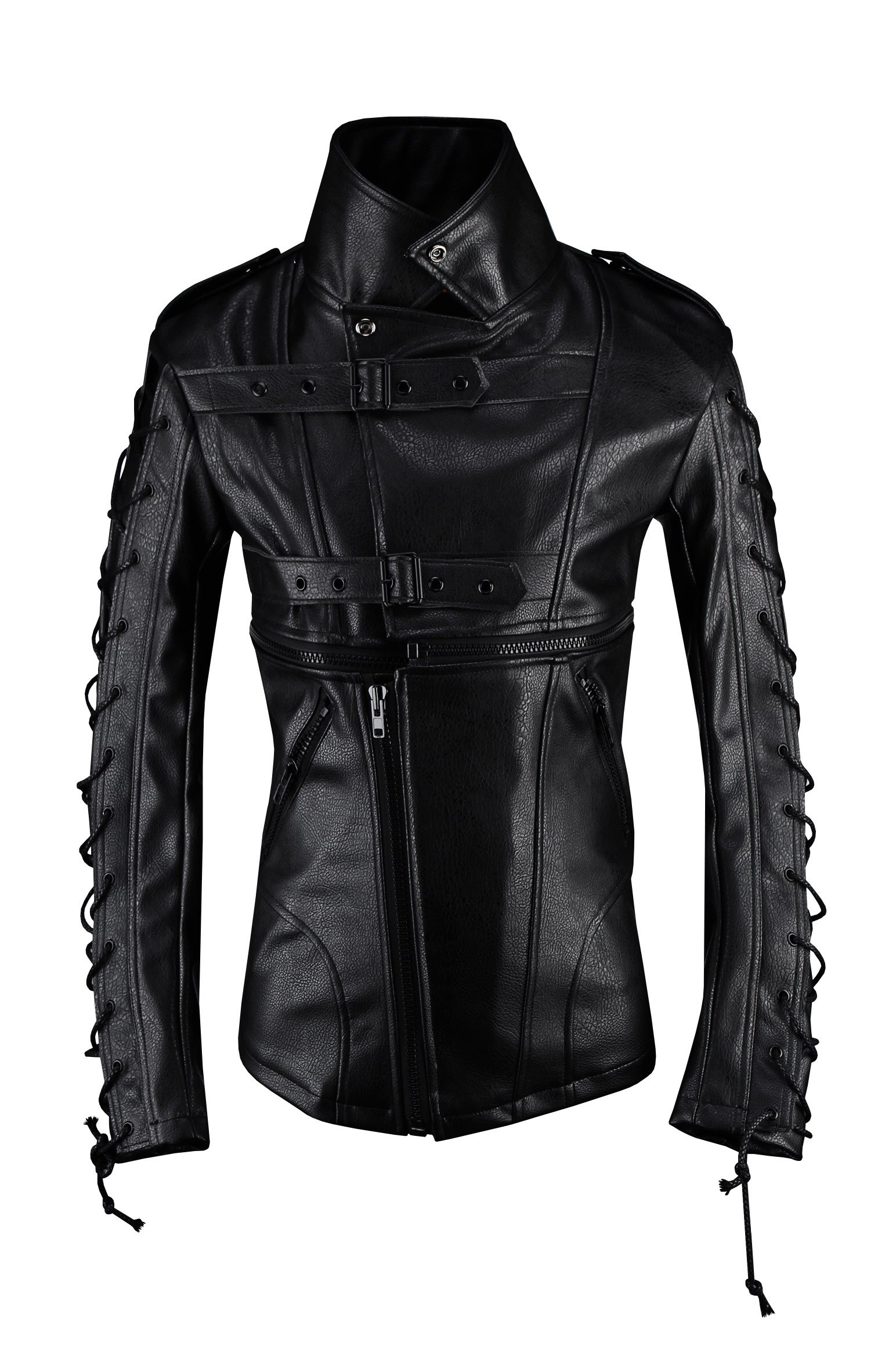 ByTheR Men's R Rope Laced Up Zipper Detail Slim Fit Faux Leather Biker Jacket M