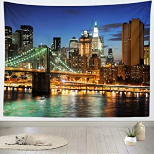 Loccor New York City Tapestry Photo Backdrop NYC Brooklyn Bridge Cityscape City Skyline Tapestry Wall Hanging for Bedroom Living Room College Dorm Photo Booth Home Decorations