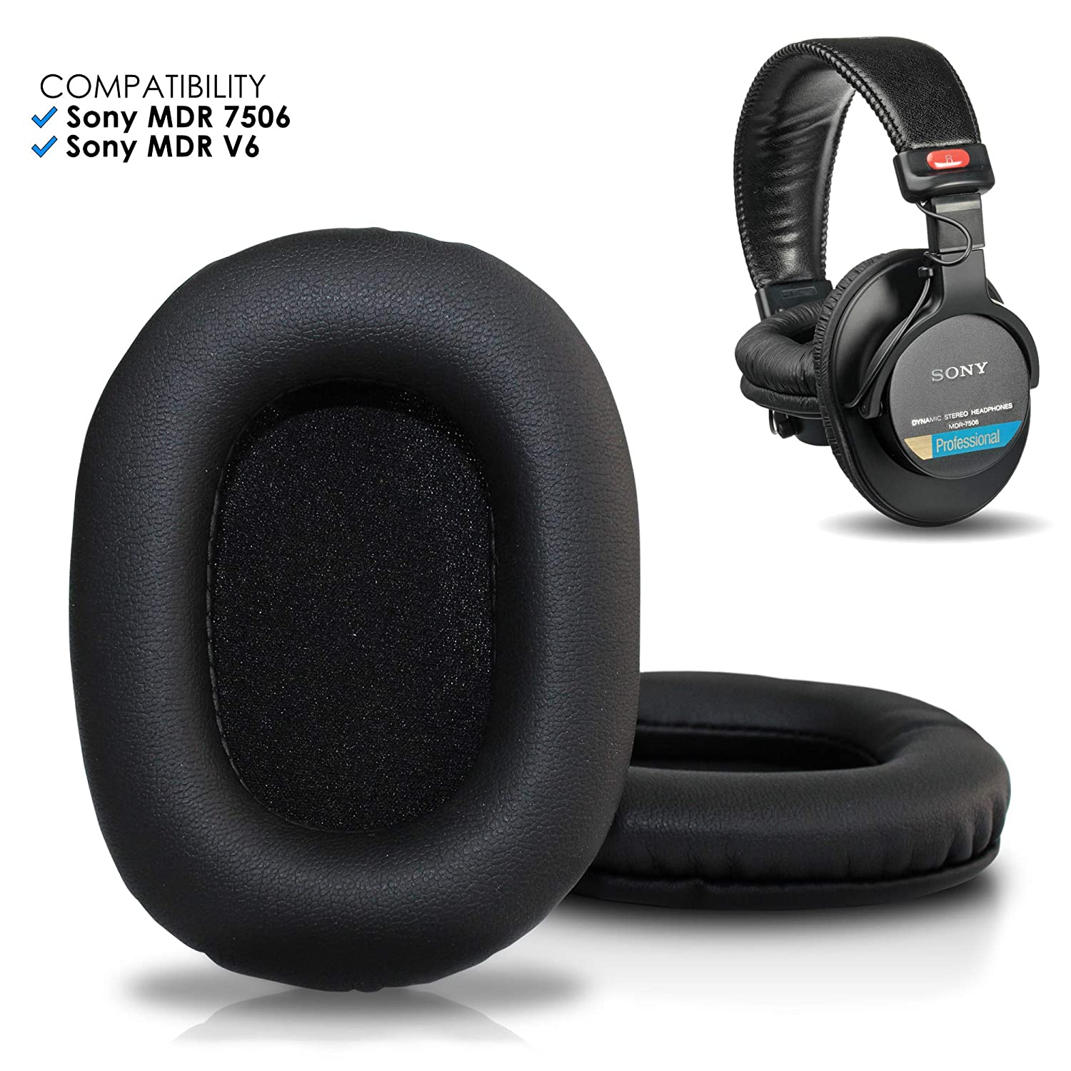 Upgraded Sony Mdr 7506 Replacement Ear Pads By Wicked Cushions Also Compatible With Mdr V6 Mdr V7 Mdr Cd900st Black
