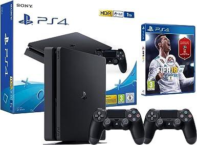 PS4 Slim 1Tb Negra Playstation 4 Consola - FIFA 18 + 2 Mandos Dualshock 4: Amazon.es: Videojuegos