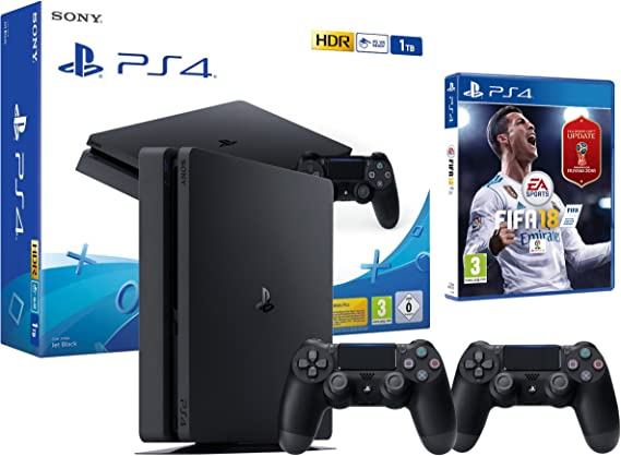 PS4 2 mandos Slim 1Tb Negra Playstation 4 Consola - FIFA 18 + 2 ...