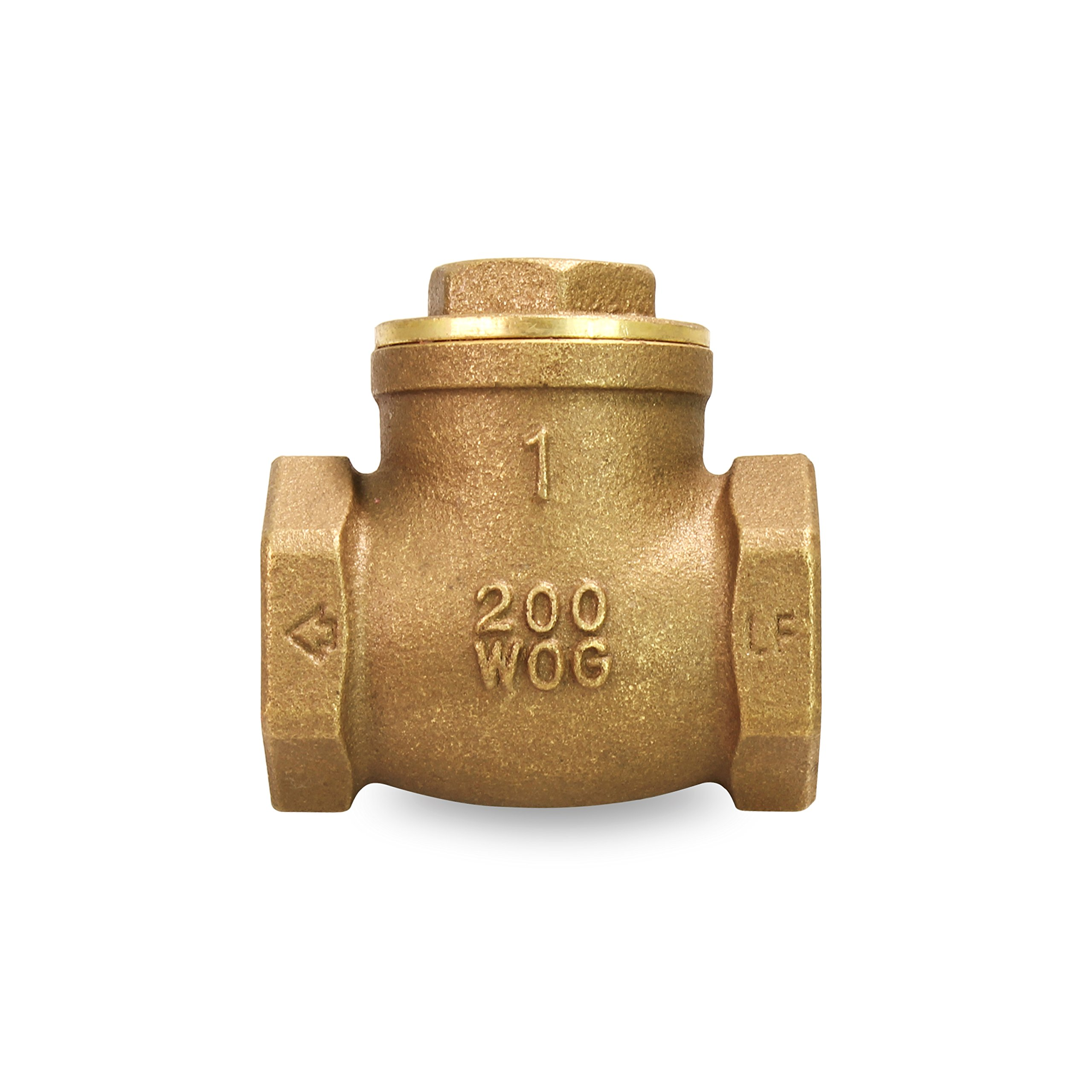 Everflow 210T001-NL 1-Inch Lead Free Brass Swing Check Valve with Female NPT Threaded, 200 PSI WOG & 125 PSI SWP, Brass Construction, Higher Corrosion Resistance Economical, Durable & Easy to Install by Everflow Supplies (Image #2)
