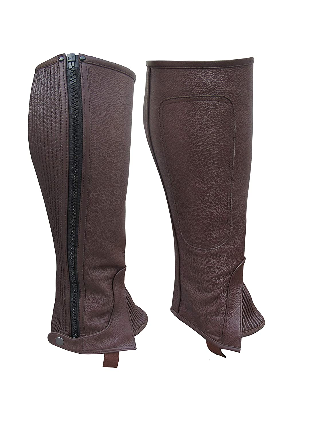 A/&H Apparel Unisex Adult Leather Half Chaps Black and Brown