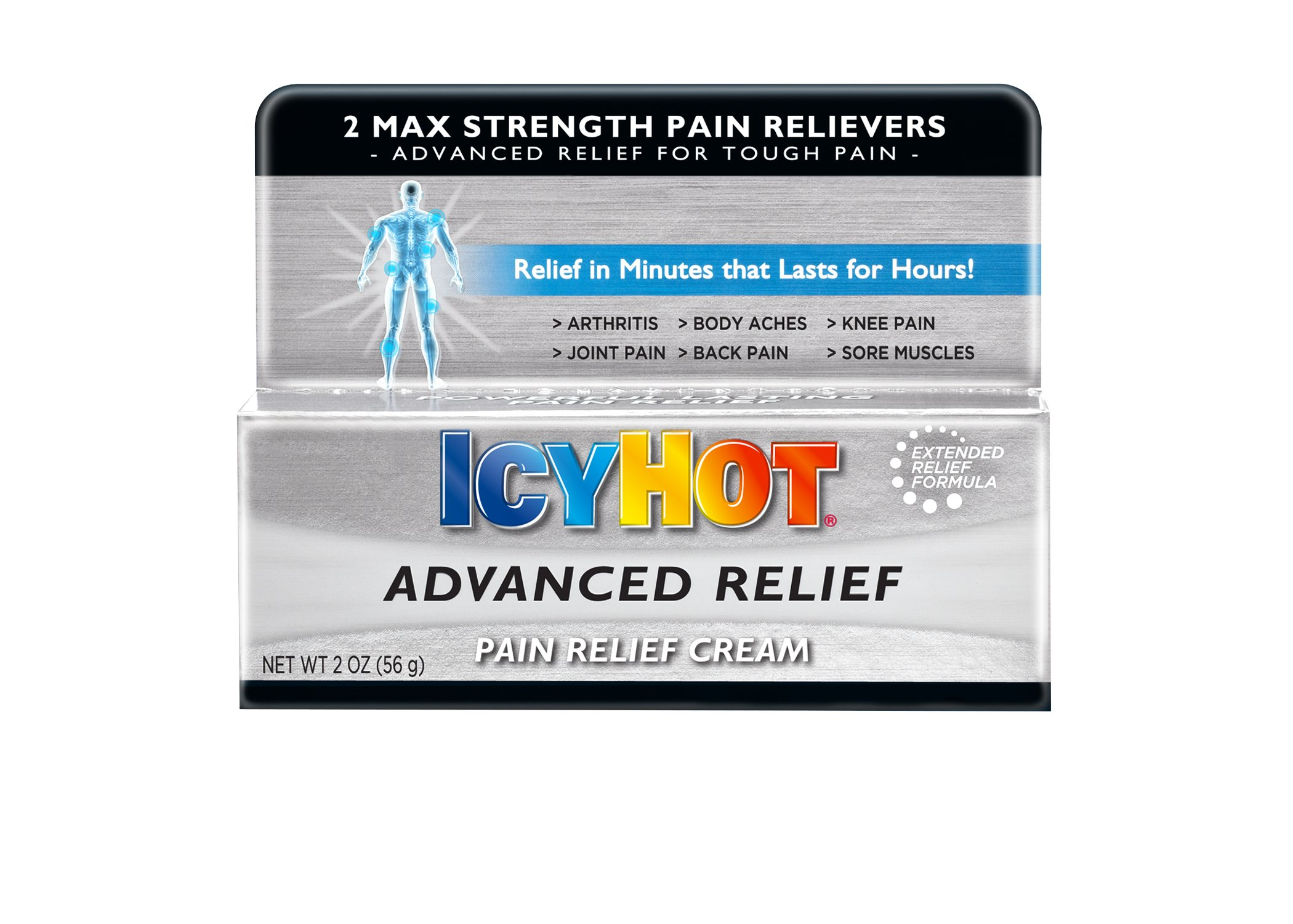 Icy Hot Advanced Relief Pain Relief Cream, 2 Ounce Tube Temporarily Relieves Minor Pain Associated with Arthritis, Simple Backache, Muscle Strains, Sprains, Bruises, and Cramps