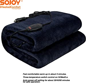 "Sojoy 12V Heated Smart Multifunctional Travel Electric Blanket for Car, Truck, Boats or RV with High/Low Temp Control (55""x 40"") (Navy Blue)"