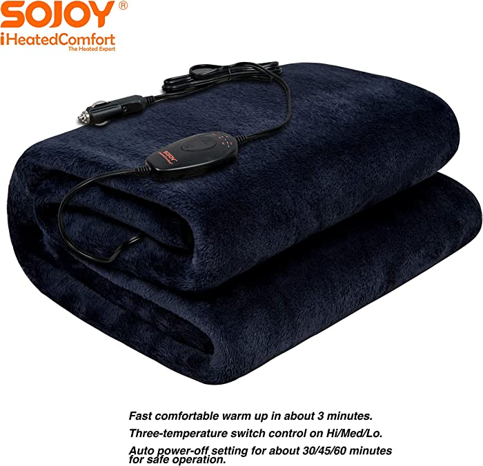 """Sojoy 12V Heated Smart Multifunctional Travel Electric Blanket for Car, Truck, Boats or RV with High/Low Temp Control (55""""x 40"""") (Navy Blue)"""
