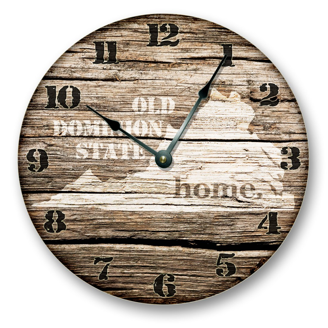 VIRGINIA STATE HOMELAND CLOCK -OLD DOMINION STATE - Large 10.5 Wall Clock - Printed Wood Image- VA_FT
