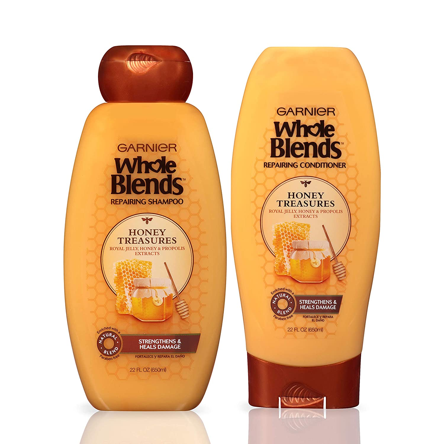 Garnier Hair Care Whole Blends Honey Treasures Repairing Shampoo and Conditioner, For Damaged Hair 44 Fl Oz
