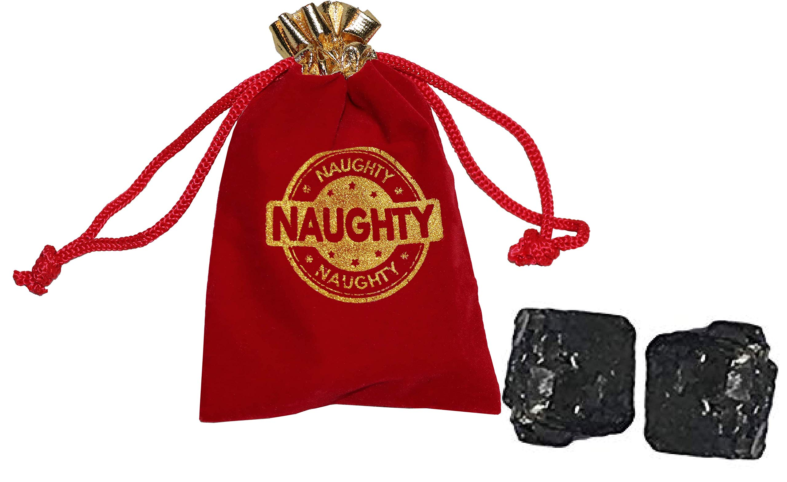 Christmas You've Been Naughty Velvet Stocking Gift Bags (Small / 4 x 6 inches with Coal)