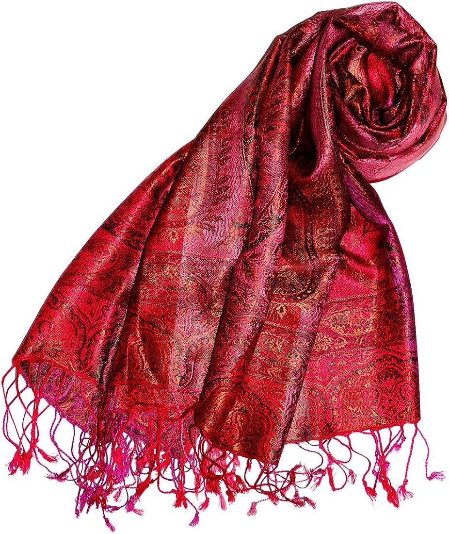 Lorenzo Cana Italian Scarf Pashmina 100/% pure Silk 79 x 12 Velvet Shawl Dark Blue 8909411