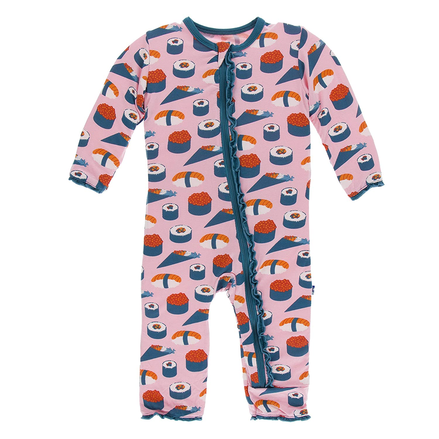 6 Years KicKee Pants Print Muffin Ruffle Coverall with Zipper in Lotus Sushi
