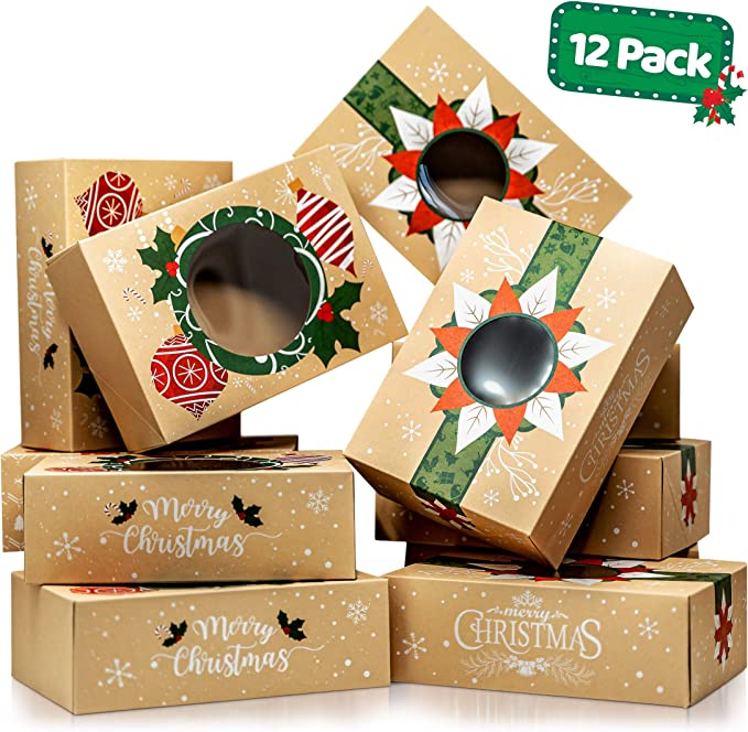 Joy Bang Christmas Cookie Boxes 20PCS Christmas Cookie Gift Boxes with Window Holiday Treat Box for Cookies Christmas Cookie Boxes Containers for Gift Giving Reindeer Santa Snowman gingerbread Man Cookie Boxes