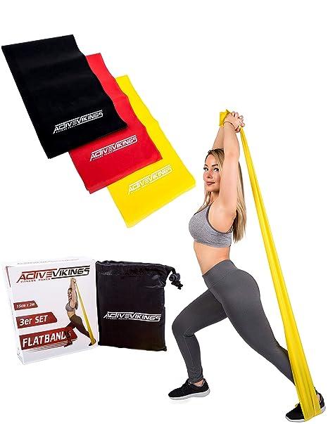 ActiveVikings Fitness Bandas Juego de 3 Fortalecer 2 m Longitud Ideal para Musculatura. Fisioterapia Pilates