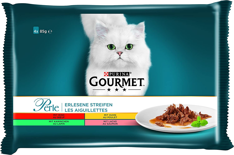 PURINA Gourmet Comida húmeda para Gatos en Tiras de Perle, variedades, Paquete de 12 Unidades (12 x 4 Bolsas de 85 g)
