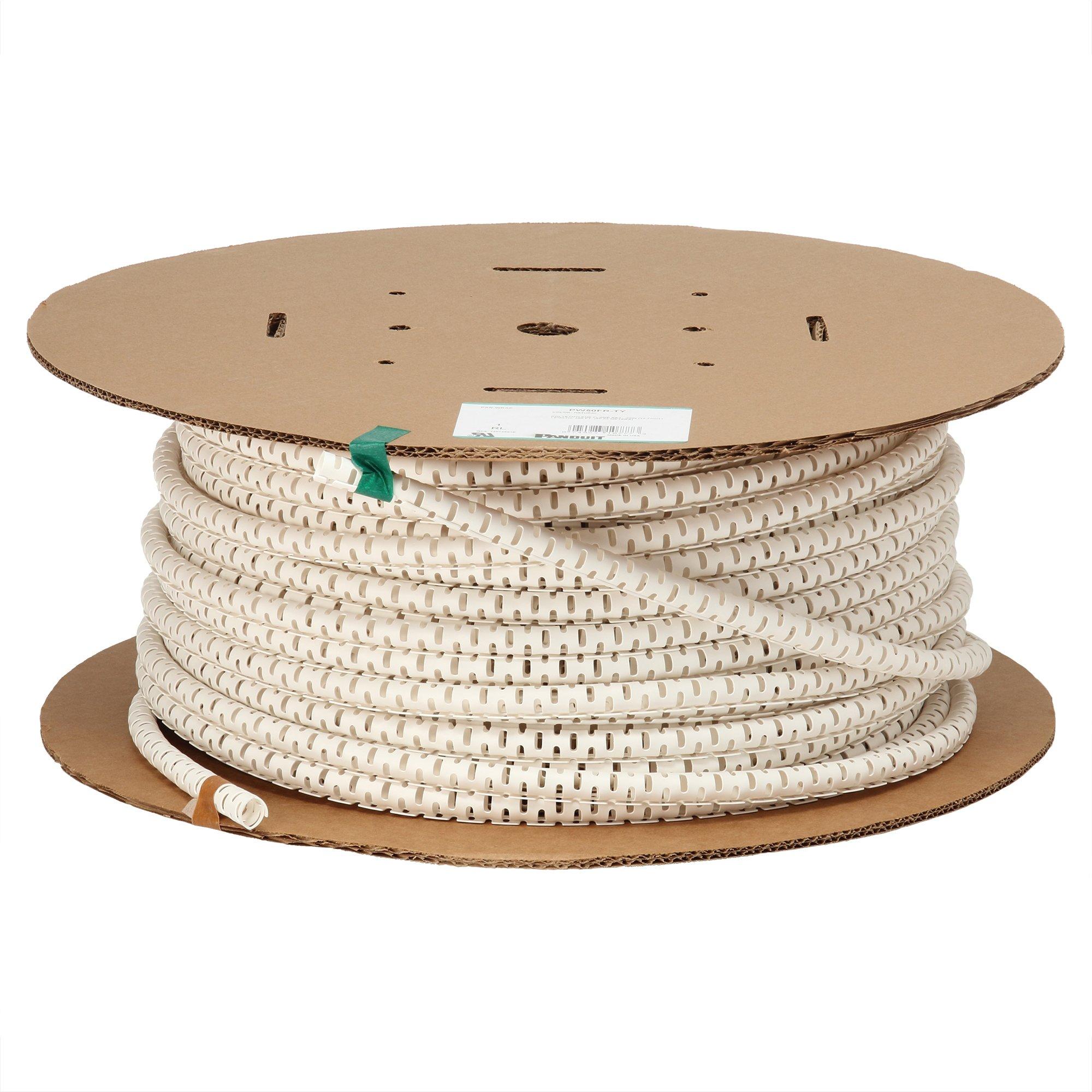 Panduit PW75FR-CY Pan-Wrap Split Harness Wrap, Flame Retardant, Polyethylene, 0.75-Inch by 100-Foot, Natural