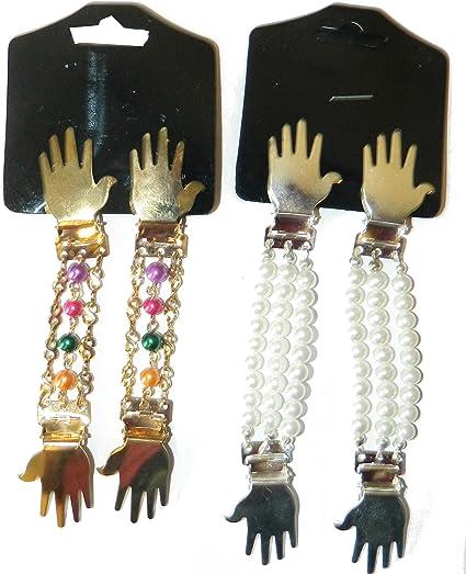 Dos pares sujeciones para mangas blusas camisas arremangar set B perlas coloridas y blancas clips plateado dorado