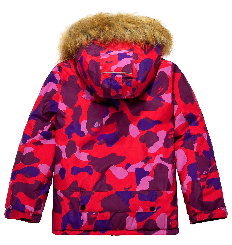 Wantdo Boys Waterproof Ski Jacket Winter Coat Rainwear with Reflective Stripe